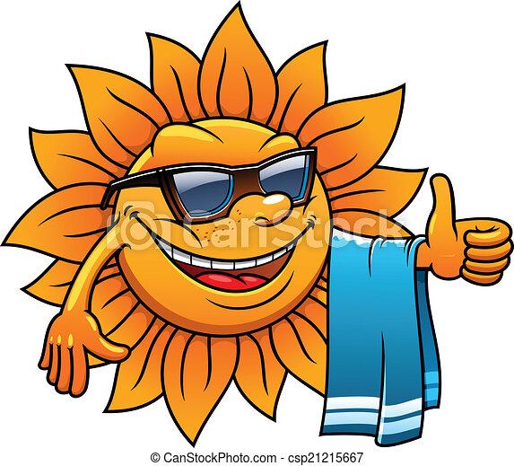 Clip art vecteur de exotique soleil plage vacances - Dessin de vacances ...