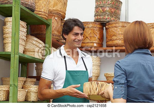 woman shopping in flower shop - csp2121658