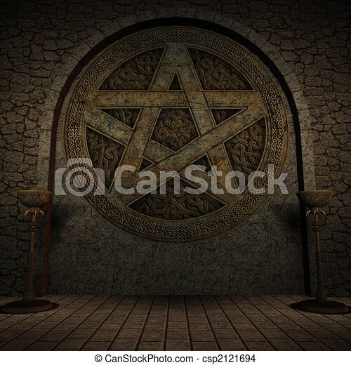 Indoor Pentagram Background - csp2121694