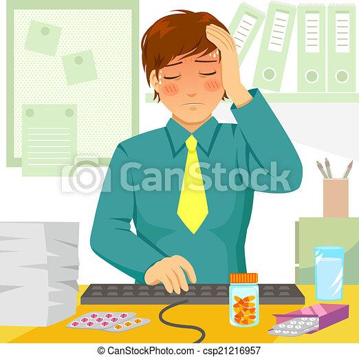 sick at work - csp21216957