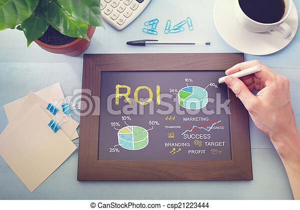 Man drawing ROI concept on chalkboard