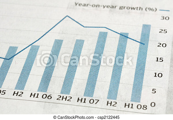 Bar chart on newspaper - csp2122445