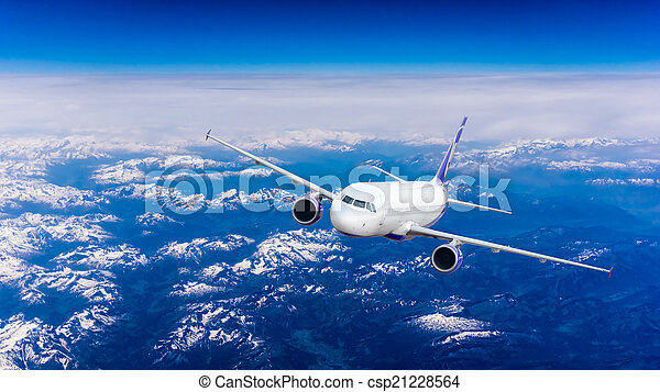 Landscape of Mountain. Airplane in the sky  - csp21228564