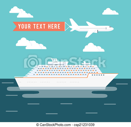 Cruise Ship And Plane Travel Poster  Royalty Free