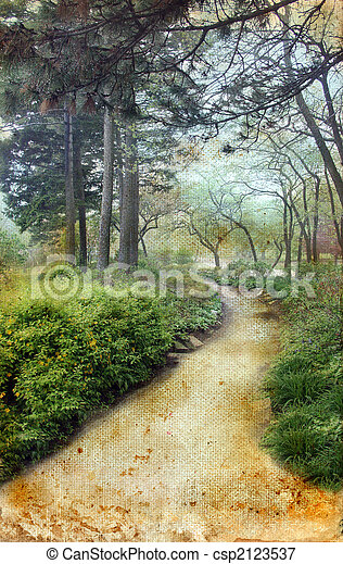 Path Through the Pines on Grunge Background - csp2123537