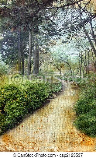 Path Through the Pines on Grunge Background - csp2123537