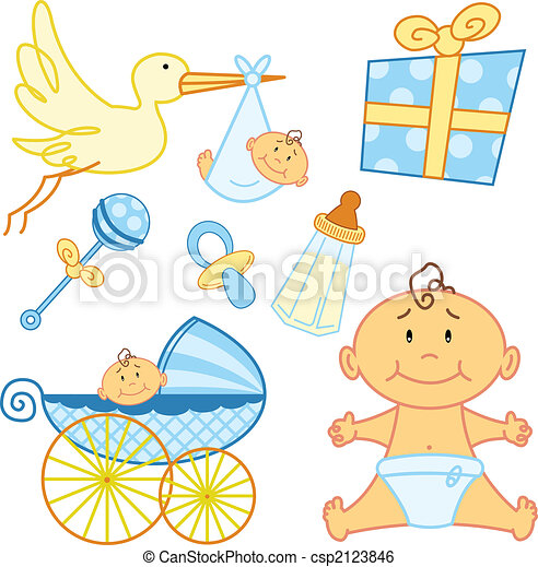 Cute New born baby graphic elements. - csp2123846