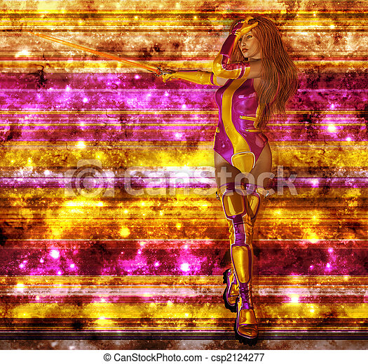 Bold Female Sci Fi Warrior - csp2124277