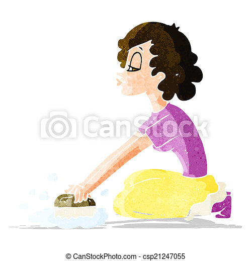 Clipart Vector of cartoon woman scrubbing floor csp21247055 ...