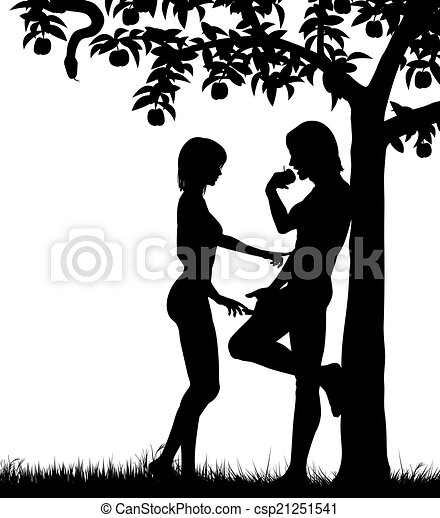 EPS Vector of Adam and Eve - Editable vector silhouettes of Adam ...