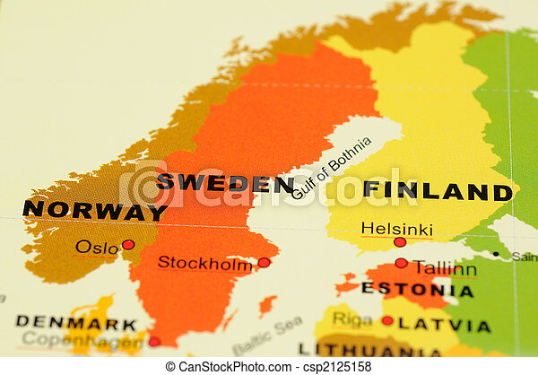 Norway, Sweden and Finland on map - csp2125158