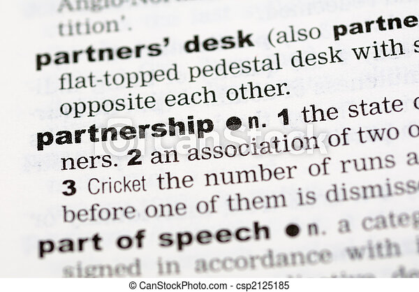 Dictionary definition of partnership - csp2125185