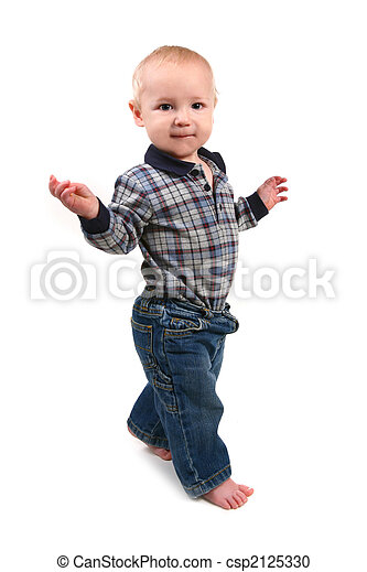 Adorable Toddler Boy Walking Sideways - csp2125330