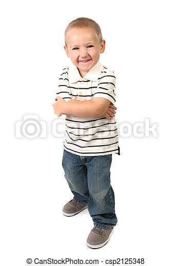 Humorous Young Boy Making a SIlly Happy Face - csp2125348