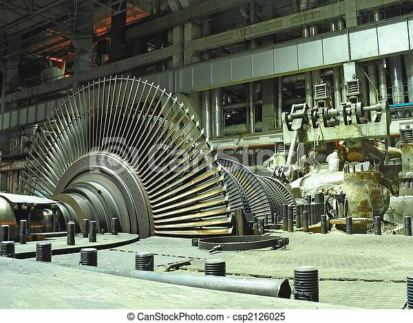steam turbine during repair, night scene