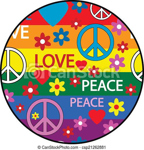 Vecteur de symboles bouton hippie bouton symboles de les csp21262881 recherchez - Dessin peace and love ...