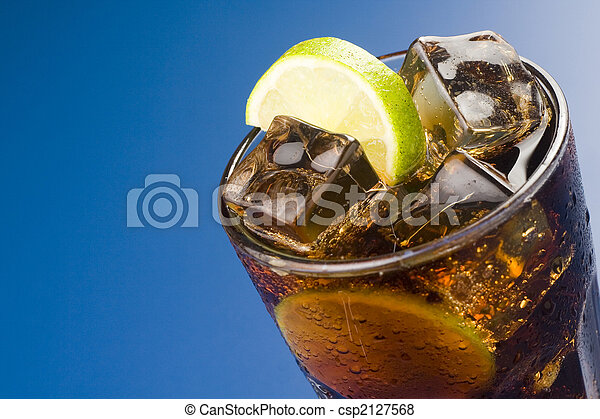 refreshing glass of cola with lemon and ice - csp2127568