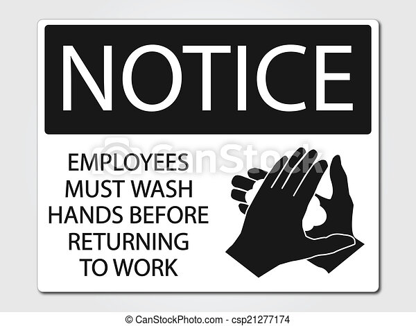 Vectors Illustration Of Employees Must Wash Hands Sign
