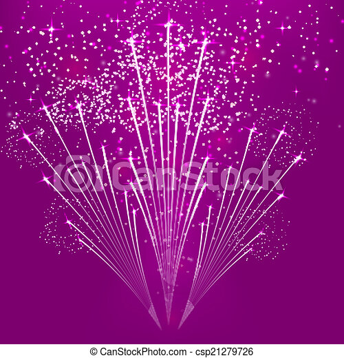 紫色, 摘要, 背景, 烟火, 矢量, 描述 - csp21279726
