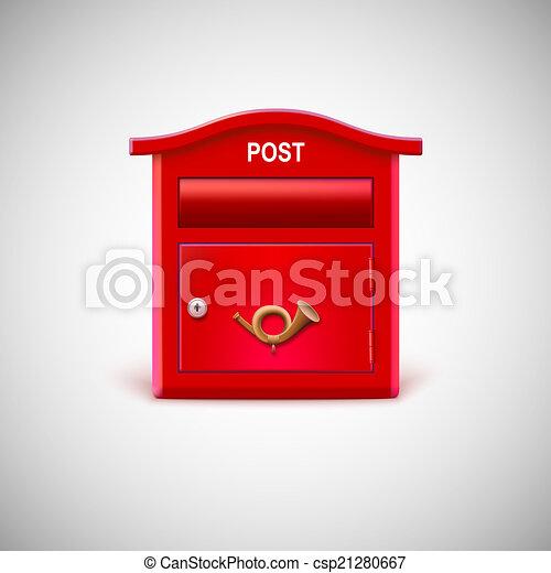Archivio Illustrazioni Di Corno Postale Rosso Cassetta
