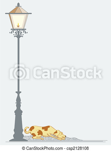 Dog sleeping near street Lamp - csp2128108