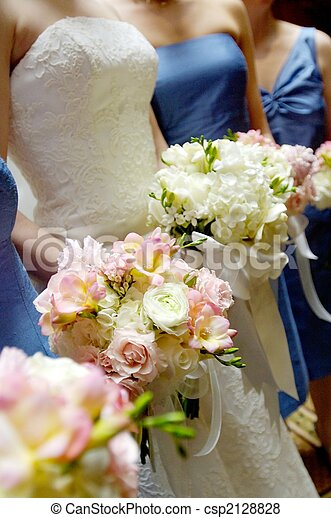 Bridal bouquets with bridesmaides bouquet - csp2128828