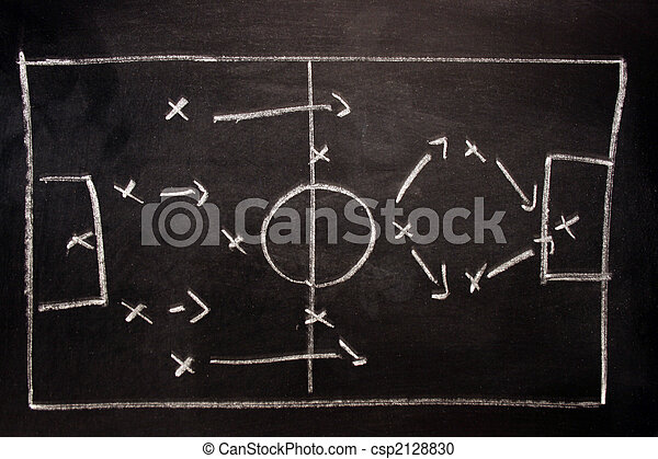 Football formation tactics on a black board - csp2128830