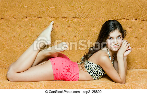 Stock Photography Of Teen Girl Rest On The Sofa Csp2128890