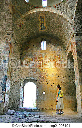 Ancient fresco paintings on the Medieval byzantine fortress of M
