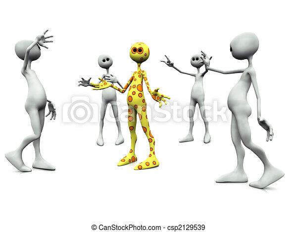 Group of worshiping figures. - csp2129539