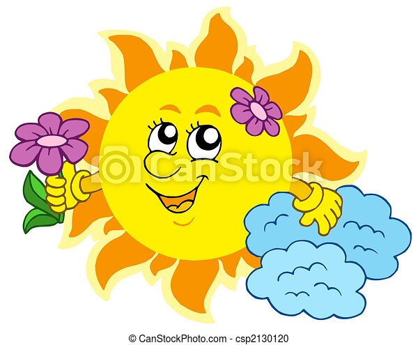 Cute Sun with flower - csp2130120