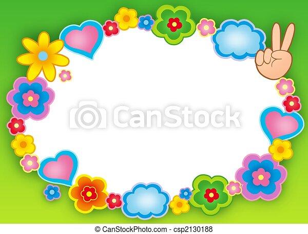 Round hippie frame with flowers - csp2130188