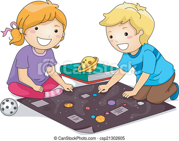 vector clipart of kids studying planets illustration Cartoon Students Studying little girl studying clipart