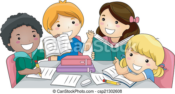 Vector Clipart Of Group Study Illustration Featuring A