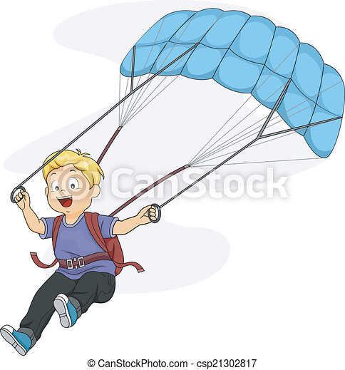 Vector Clip Art of Parachute Kid - Illustration of a Little Boy ...