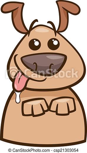 Clipart Vector of mood hungry dog cartoon illustration ...