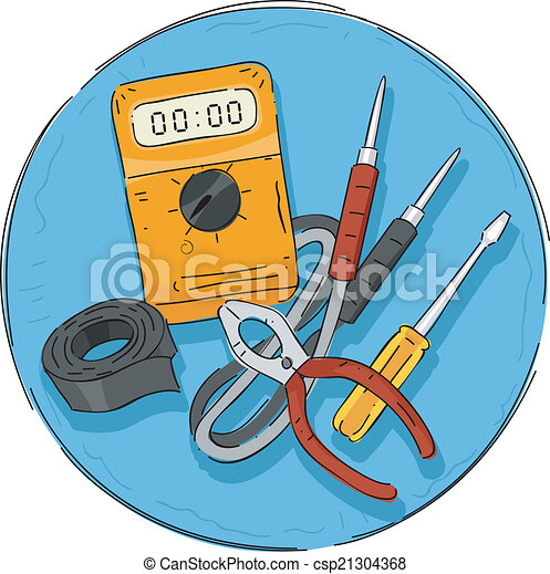 clip art vector of electrical tools icon  illustration featuring, electrical drawing