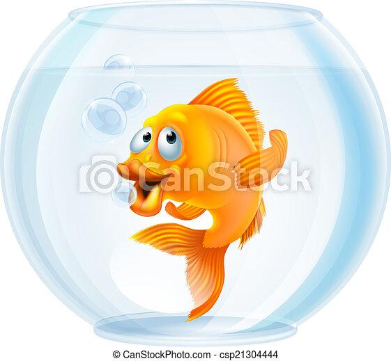 Cartoon goldfish in bowl - csp21304444