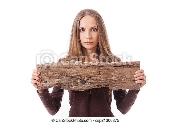 woman holding old wooden board - csp21306375