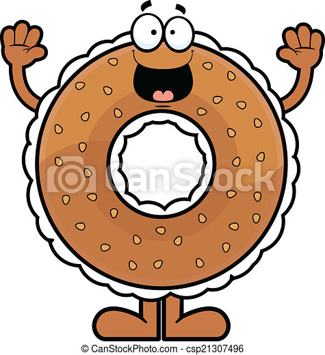 Cartoon Bagel Clipart Cartoon Bagel Happy