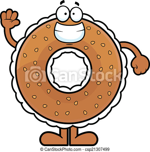 Cartoon Bagel Clipart Cartoon Bagel Waving Cartoon