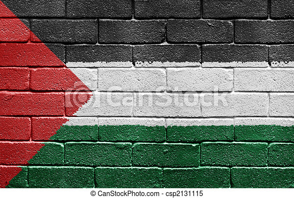 Flag of Palestine on brick wall - csp2131115