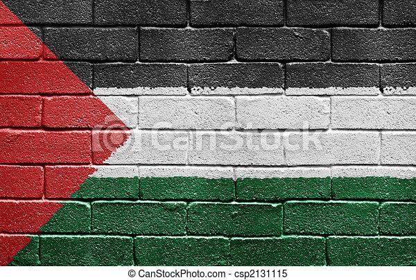 Flag of Palestine on brick wall - csp2131115
