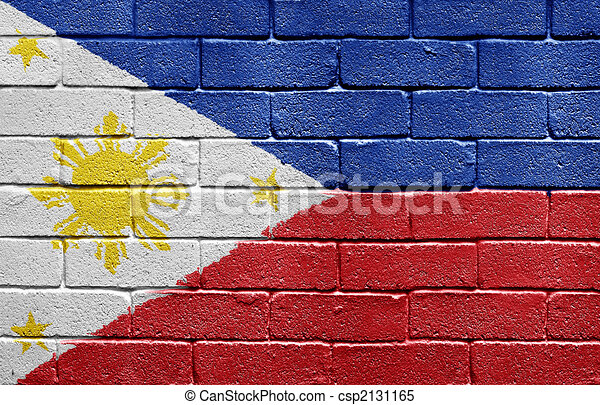Flag of Philippines on brick wall - csp2131165