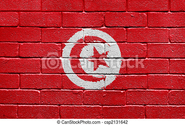 Flag of Tunisia on brick wall - csp2131642