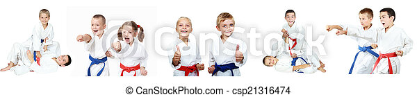 Children show techniques of karate