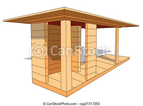 clipart vektor von unterstand holz holz unterstand. Black Bedroom Furniture Sets. Home Design Ideas