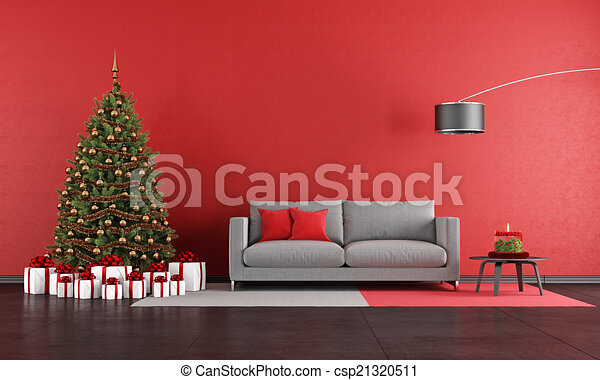 Clipart Of Modern Christmas Living Room With Sofatree And