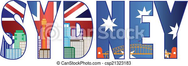 Sydney Text Outline with Skyline Color Illustration - csp21323183