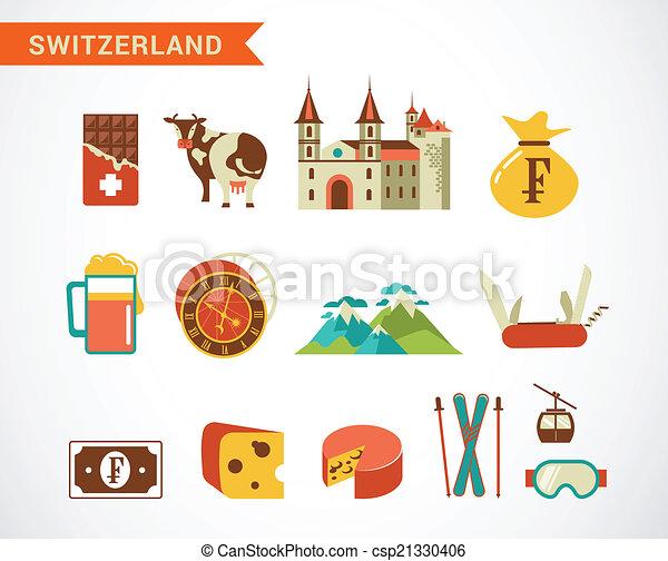 vector clip art de suiza conjunto vector iconos
